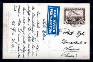 Belgium 1935 1F 50c Air Stamp on postcard Brussels Expo PMK WS11977