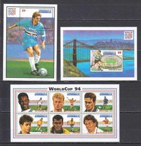 U0803 1994 DOMINICA FOOTBALL WORLD CUP USA 94 #1858-3 MICHEL 17 EURO 2BL+1KB MNH