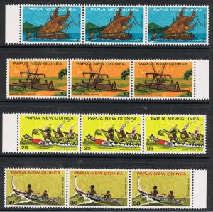 PAPUA NEW GUINEA 1975 TRADITIONAL CANOES - STRIPS OF 3