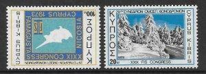 CYPRUS SG401/2 1973 SKI FEDERATION  MNH
