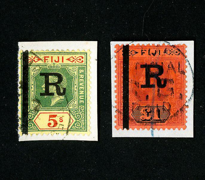 Fiji Stamps # 90, 91 Bar Overprint + 'R' Rare Set of 2 Scott Value $370.00