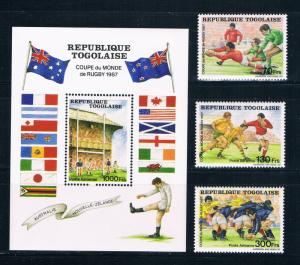 Togo 1427-30 MNH set and SS Rugby world cup 1987 (T0090)