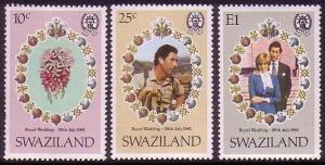 Swaziland Charles and Diana Royal Wedding 3v SG#376-378 MI#375-377