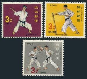 RyuKyu 125-127,MNH.Michel 154-156. Karate,RyuRyuan self-defense sport,1964-1965.