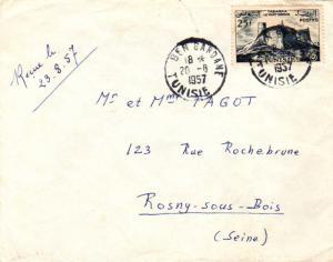 Tunisia 25F Genoese Fort at Tabarka 1957 Ben Gardane, Tunisie to Rosny-sous-B...