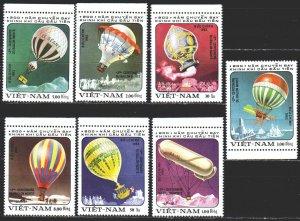 Vietnam. 1983. 1298-1304. Balloons, zeppellins. MNH.