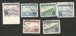 ALBANIA - 6 USED STAMPS - OVERPRINT - AIRMAIL - PLANE - 1950/1953.