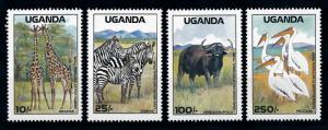 [79080] Uganda 1988 Wild Life Giraffe Zebra Birds  MNH