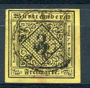 Wuerttemberg  Mi #2III  Used Superb   Lakeshore Philatelics