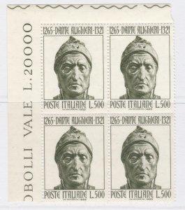 1965 Dante Alighieri Italian Poet & Writer MNH** Block of Four 14814