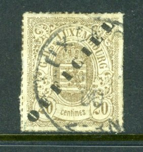 Luxemburg #o26 20c OFFICIAL SIGNED - (USED) - cv$575.00