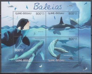 2012 Guinea-Bissau 6221-24KL Whales 12,00 €