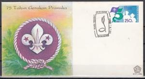 Indonesia, Scott cat. 1185. Scouting 75th Anniversary issue. First Day Cover.