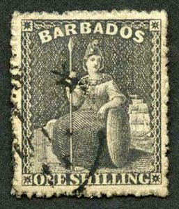 Barbados SG51 1/- Black rough perf 14 to 16 Cat 18 pounds