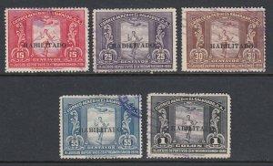 El Salvador 1935 Habilitado Overprint Complete Set Used. Scott C41-C45