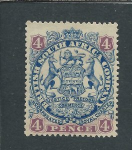 RHODESIA 1896-97 DIE 2 4d ULTRAMARINE & MAUVE MM SG 44 CAT £75