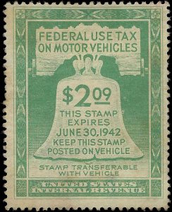 VEGAS - 1942 USA Motor Vehicle Tax Stamp Sc# RV1 - Nice Condition! - EO23