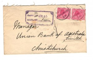 New Zealand Sc#61 Pair Used on Cover to Union Bank of Australia 1895