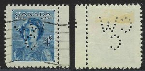 Perfin C46-CW/C: 4c Princess Elizabeth Issue, 276-1, Canadian Westinghouse Co.