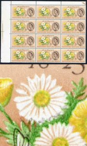 SG637a 1963 3d Nature with Caterpillar Flaw Block of 12 U/M