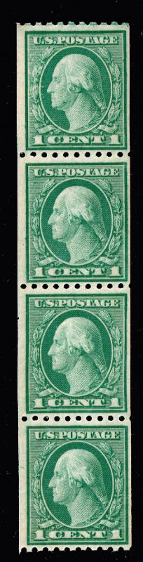 US STAMP #448 1c green 1915 Coil Stamp MNH STRIP OF 4