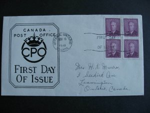 Canada replacement FDC first day cover Sc 286 3c KGVI block of 4