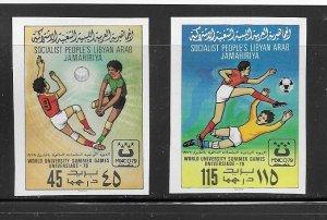 Libya 827-8 Soccer MNH cpl. set impf. , vf. 2022 CV $ 17.50
