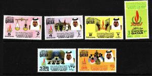 D3-Qatar-Scott#372-7-Unused hinged set-Declaration of Human