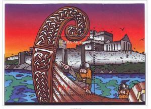 Isle of Man Sc 775 1998 Viking Longships stamp sheet used
