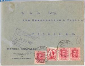 SPAIN  España - POSTAL HISTORY -  COVER to GERMANY - PLASENCIA 1931