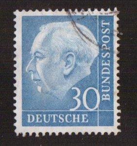 Germany  #712  used  1954  President  Heuss   30pf