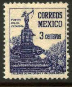 MEXICO 805, 3cents Diana the Huntress Fountain. UNUSED, HINGED, OG. F-VF.