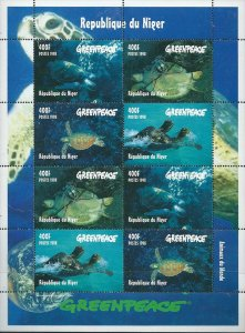Niger 1998 Greenpeace Turtles Marine Life 8v Mint Full Sheet. (L-114)