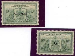 Canada - 1950 Special Delivery Officials OHMS & G #EO1-2