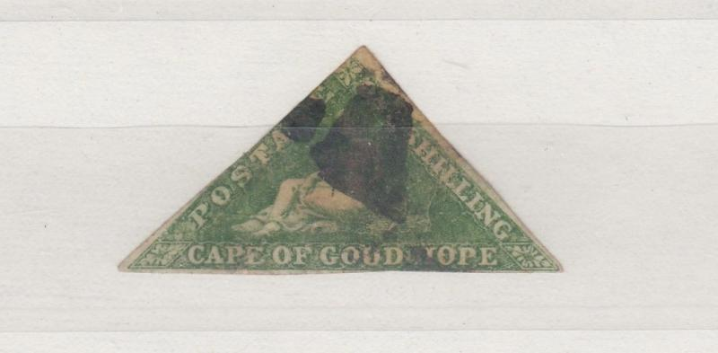 Cape of Good Hope 1853 1/- Green Triangle Imperf Used J1675