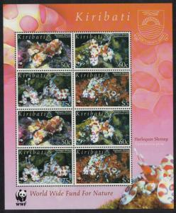 Kiribati WWF Harlequin Shrimp Sheetlet of 2 sets SG#746-749 MI#983-986