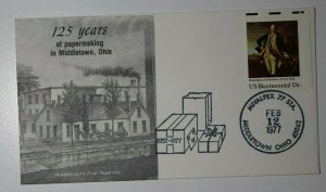 MIVALPEX Sta Middleton OH 1977 First Papermill Philatelic Expo Cachet Cover