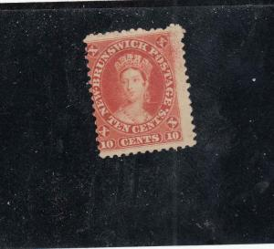 NEW BRUNSWICK # 9 FVF-MLH 10cts QUEEN VICTORIA/FRONT FACED/MAY 1860 CAT VAL $45