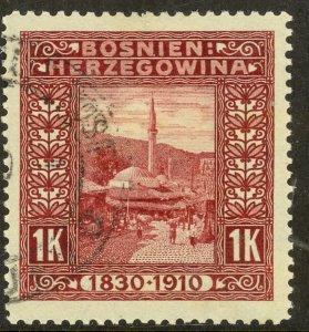 BOSNIA AND HERZEGOVINA 191 1K Mosque Franz Joseph Birthday Jubilee Sc 59 VFU