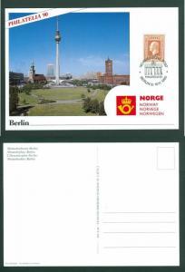 Norway. Card 1990.  Philatelia 90 Berlin,Germany. 10 Kr. King Olav V.