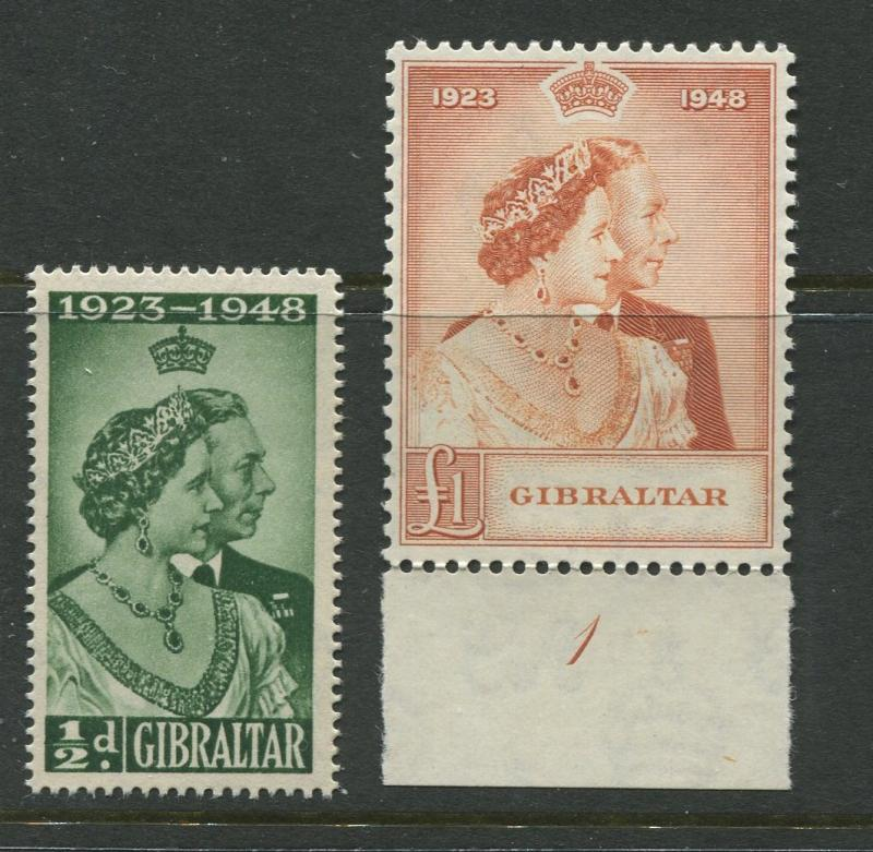 Gibraltar - Scott 121-122 - Silver Wedding Issue - 1948 - MNH - Set of 2 Stamps