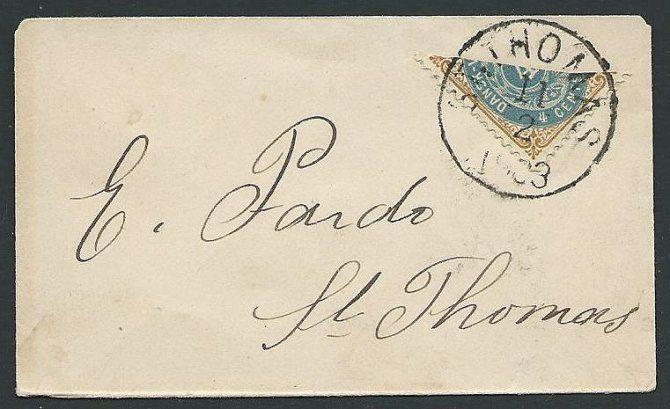 DANISH WEST INDIES 1903 4c bisected on small cover, St Thomas cds..........44806