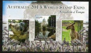 Tonga 2013 Koala, Kangaroo Sheet - Scott 1201 - SCV $10