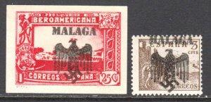 SPAIN GERMANY PROPAGANDA MALAGA OVERPRINT OG NH U/M VF x2 #1 BEAUTIFUL GUM
