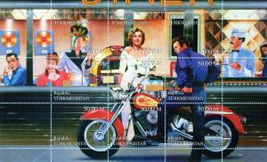 Turkmenistan 1999 Motorcycles/Marilyn Monroe/James Dean/Lucy Ball Sheetlet MNH
