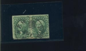 Scott #32 Washington Used Pair of 2 Stamps with PSE Cert (Stock #32-PSE2)