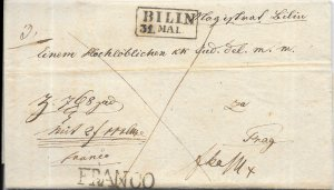 Czech Republic Stampless Cover - Bilin to Prague - 1842 or 1845