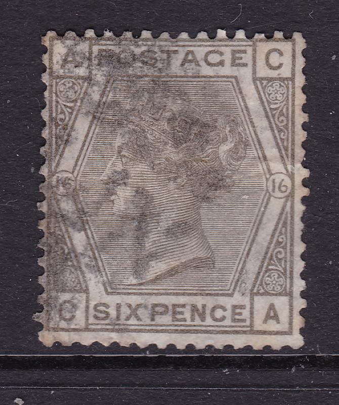 Great Britain a QV 6d grey plate 16 used