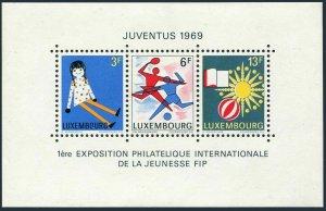 Luxembourg 474 sheet,MNH.Michel 785-787 Bl.8. JUVENTUS-1969.Soccer,Tennis.
