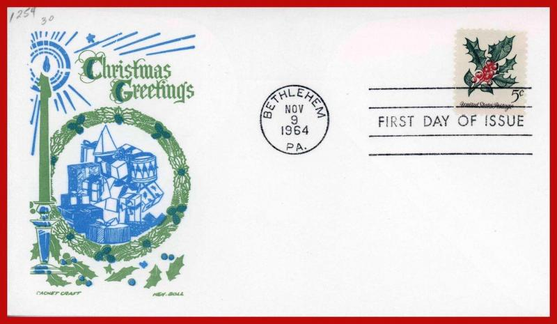 US FDC FDC #1254 M12 5c Christmas 1964 Holly Cachet Craft - Boll Cachet